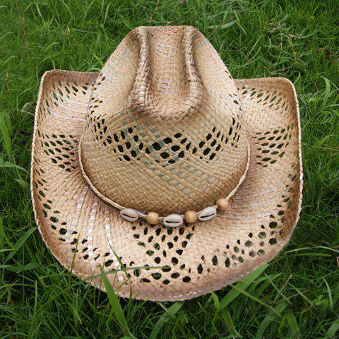 Stylish Chic Beads Decorated Openwork Cowboy Hat For Women - RANDOM COLOR PATTERN