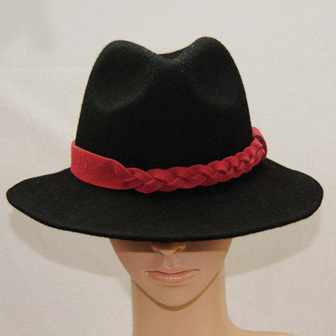 Fashion Trendy Solid Color Fedora Hat For Women - BLACK