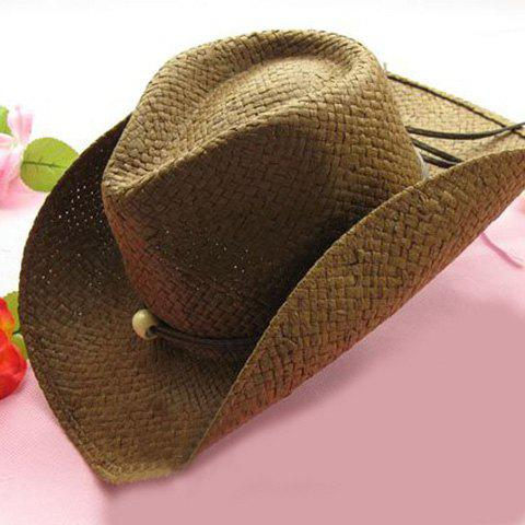 Fashion Trendy Solid Color Cowboy Hat For Women - COFFEE