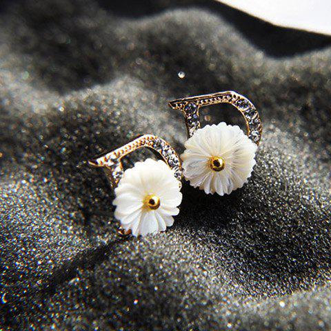 Pair of Sweet Chrysanthemum Decorated Diamante D-Shaped Stud Earrings For Women - AS THE PICTURE