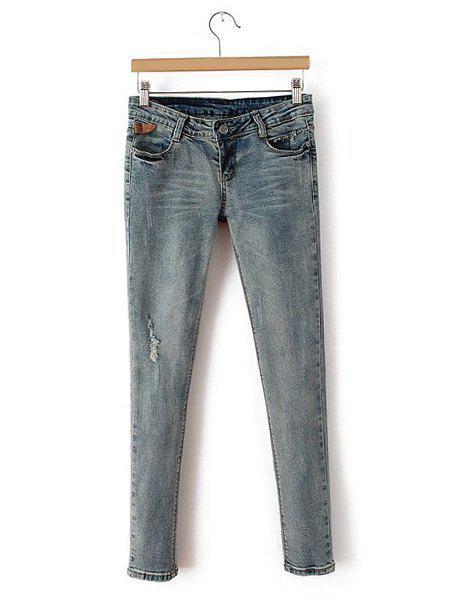 Broken Hole Frayed Low Waist Narrow Feet Simple Style Women's Jeans - BLUE 26