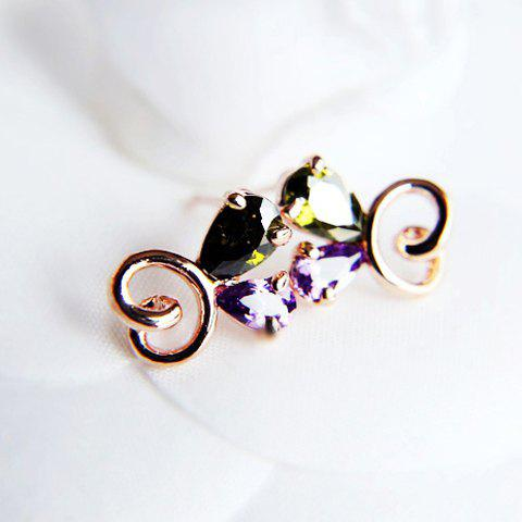 Pair of Sweet Colorful Rhinestone Decorated Openwork Butterfly Pattern Stud Earrings For Women