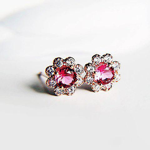 Pair of Sweet Rhinestone Decorated Flower Pattern Stud Earrings For Women - PINK