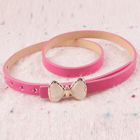 Sweet Bowknot Buckle Candy Color Slender Belt For Women - COLOR ASSORTED
