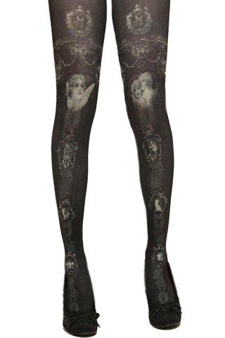 Trendy Figure Pattern Decorated Pantyhose For Women - BLACK