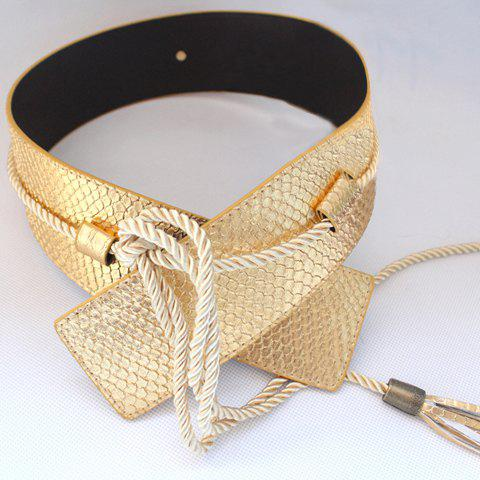 Sweet Tassels Pendant Wide Waist Belt For Women - GOLDEN