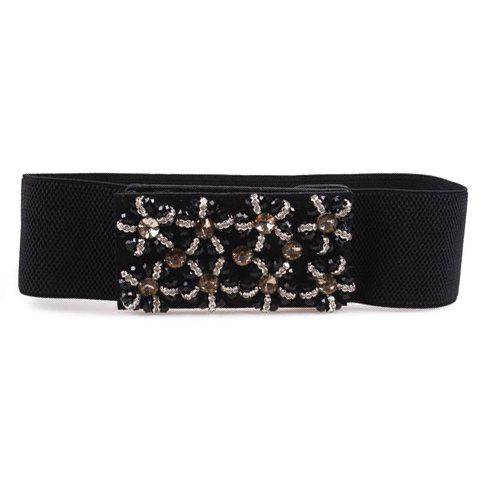 Trendy Bead Flower Pattern Buckle Elastic Wide Waist Belt For Women - BLACK