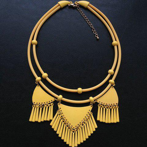 Exquisite Tassels Decorated Triangle Pendant Double-Layer Necklace For Women - YELLOW