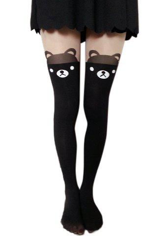 Fashion Bear Heart Tattoo Pantyhose For Women - RANDOM COLOR PATTERN