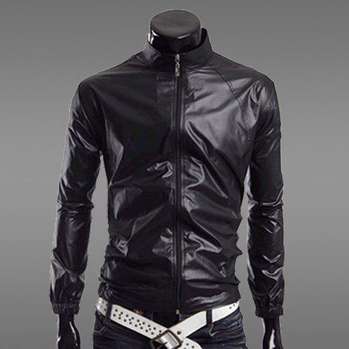 Fashion Solid Color Zipper Design Stand Collar Long Sleeve Slimming Polyester Sport Waterproof Sunproof Coat For Men - BLACK L