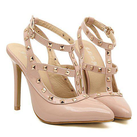 Street Style Rivets and Pointed Toe Design Pumps For Women - APRICOT 38