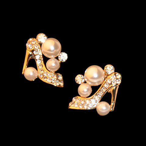 Fake Pearl High Heeled Shoe Shape Earrings - AS THE PICTURE