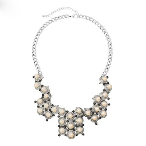 Retro Faux Pearl Decorated Flower Pattern Pendant Necklace For Women - SILVER