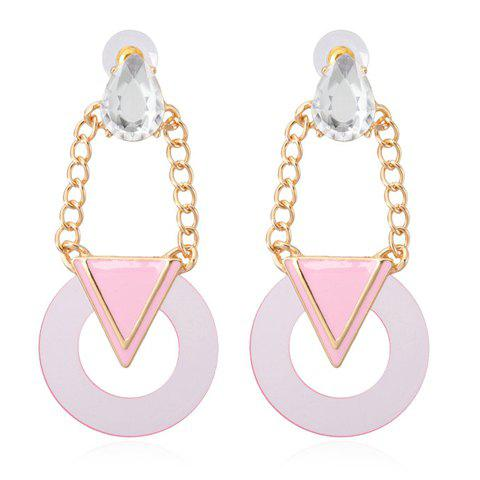 Pair of Geometric Pendant Faux Crystal Decorated Drop Earrings - PINK