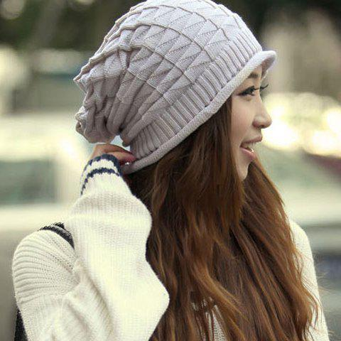 Stylish Knitting Geometric Pattern Beanie Hat For Women