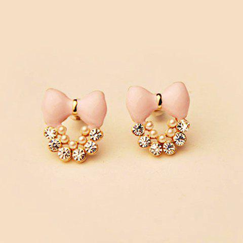 Pair of Brilliant Rhinestone and Faux Pearl Decorated Bowknot Pattern Earrings For Women