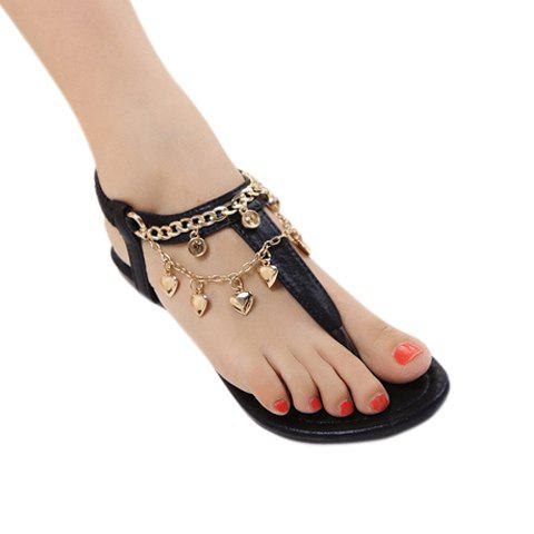 Stylish Chain and Flip-Flop Design Women's Sandals