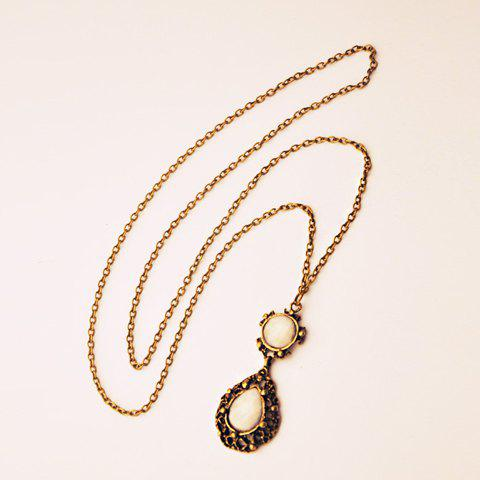 Vintage Openwork Water Drop Shape Pendant Sweater Chain For Women - COLORMIX