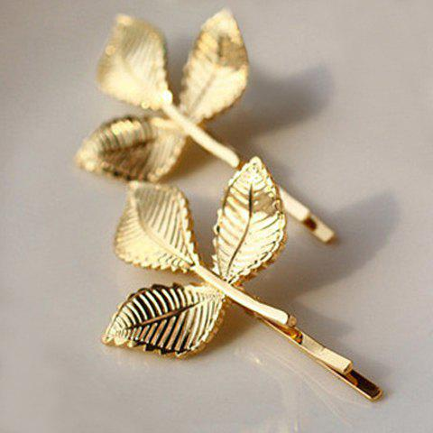 Characteristic Leaf Pattern Hairpin For Women    (ONE PIECE) - GOLDEN