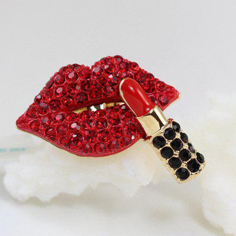 Diamante Lip and Lipstick Shape Ring - GOLDEN ONE-SIZE