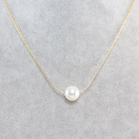 Simple Faux Pearl Embellished Necklace For Women -  GOLDEN
