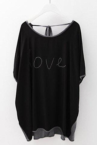 Stylish Scoop Neck Color Block Dolman Sleeve T-Shirt For Women - BLACK ONE SIZE