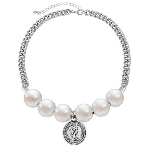 Vintage Coin Pendant Faux Pearl Embellished Necklace For Women - SILVER