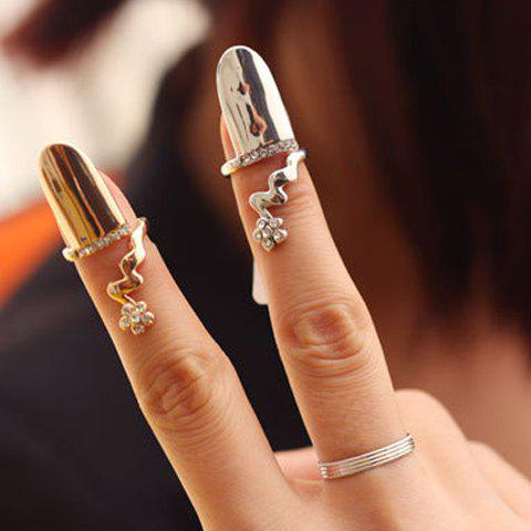 Rhinestone Flower Pattern Fingertip Ring (ONE PIECE) - COLOR ASSORTED ONE-SIZE