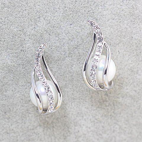 Pair of Exquisite Faux Pearl Embellished Diamante Leaf Pattern Stud Earrings For Women