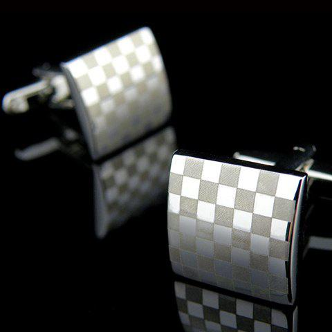 Pair of Trendy Grid Square Cufflinks For Men - SILVER