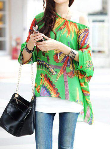 Bohemian Scoop Neck 3/4 Batwing Sleeve Chiffon Printed Women's Blouse