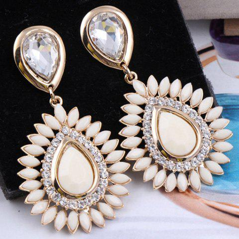 Pair of Exquisite Colorful Multi-Layered Water Drop Pattern Pendant Rhinestone Embellished Earrings For Women - OFF WHITE