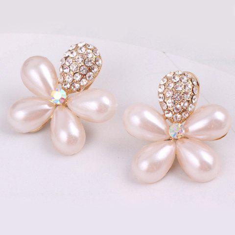 Pair of Exquisite Faux Pearl Flower Pattern Rhinestone Embellished Earrings For Women - WHITE