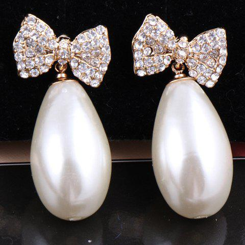 Pair of Exquisite Oval Shape Faux Pearl Pendant Rhinestone Embellished Bowknot Pattern Earrings For Women