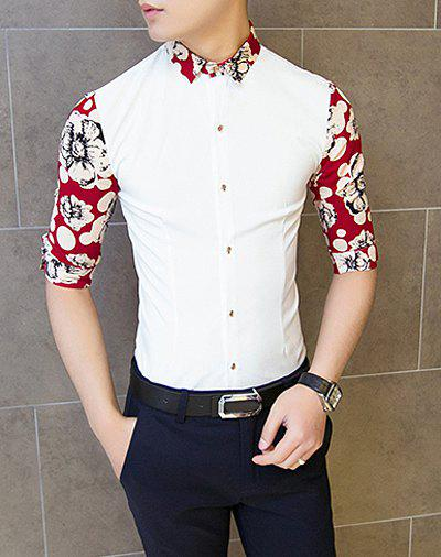 Fashion Polka Dot Flower Print Splicing Shirt Collar 3/4 Length ...