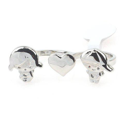 Sweet Kid Pattern Heart Shape Ring For Women - SILVER ONE-SIZE