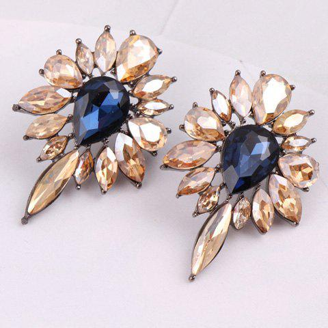 Pair of Exquisite Openwork Leaf Pattern Rhinestone Embellished Earrings For Women - CHAMPAGNE GOLD