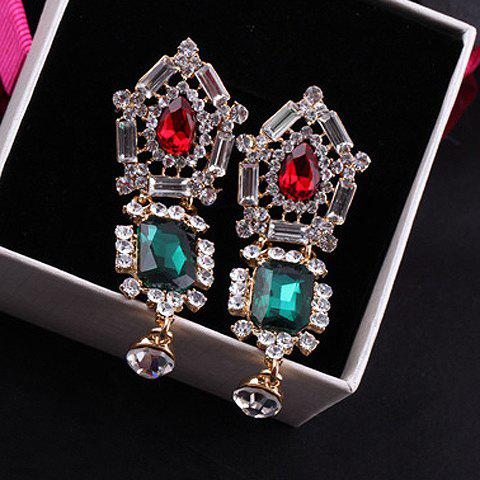 Pair of Exquisite Openwork Geometric Pendant Rhinestone Embellished Earrings For Women - RED/GREEN