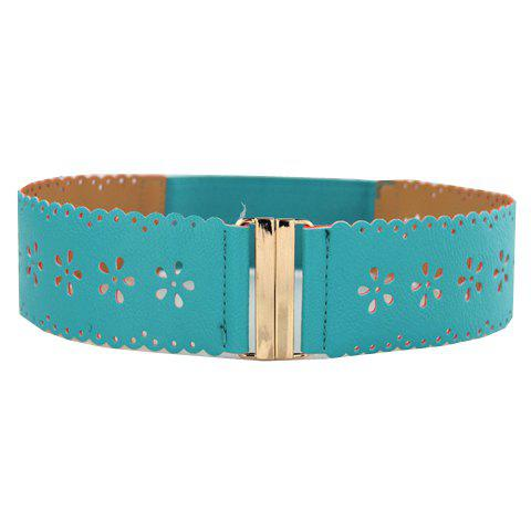 Sweet Elastic Flower Pattern Waist Belt For Women - LAKE BLUE