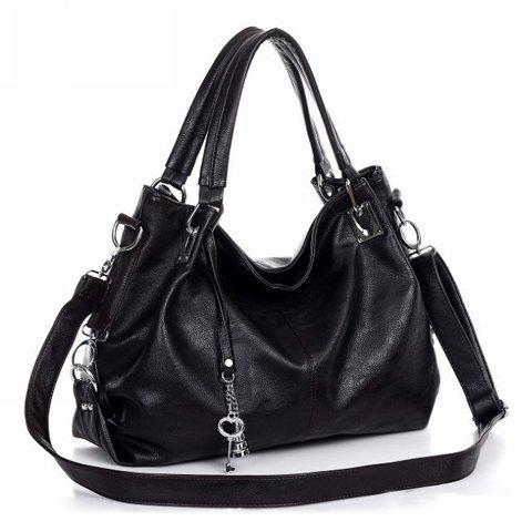 Simple Metal Pendant and Solid Color Design Tote Bag For Women - BLACK