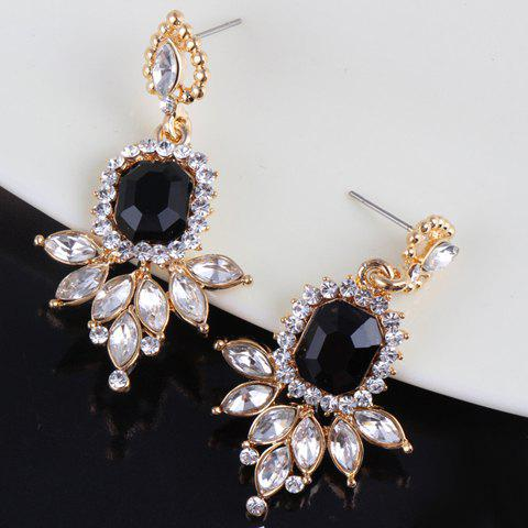 Pair of Exquisite Rhinestone Decorated Leaf Pattern Pendant Bead Heart Shape Earrings For Women - BLACK