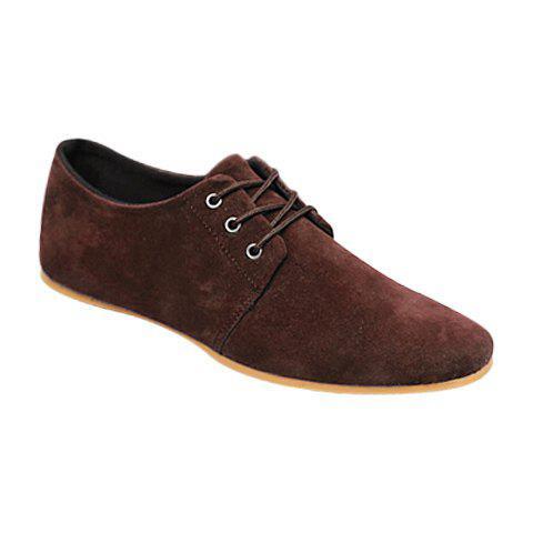 Business Suede and Solid Color Design Formal Shoes For Men - BROWN 44
