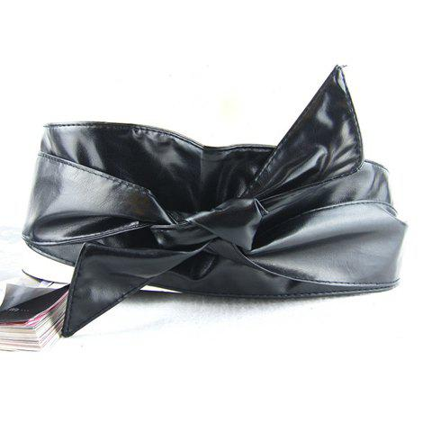 Stylish Solid Color Bowknot Waist Belt For Women - BLACK