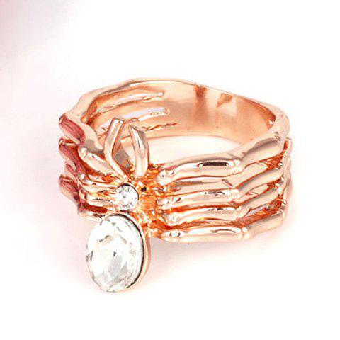 Exquisite Rhinestone Embellished Spider Pattern Ring For Women - GOLDEN ONE-SIZE
