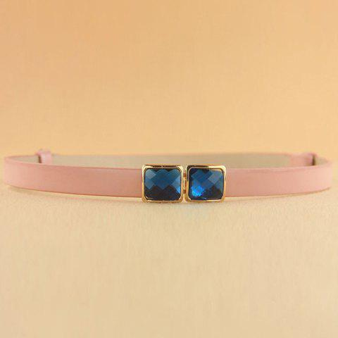 Trendy Fashion Solid Color Rhinestone Inlaid Slender Waist Belt For Women - COLOR ASSORTED