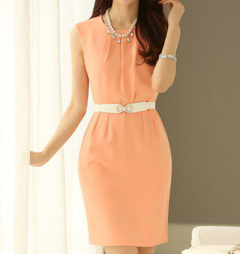 Ruched Solid Color Sleeveless Round Collar Women's Dress - ORANGE M