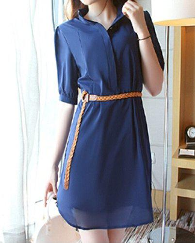 Loose Short Sleeve Stand-Up Collar Belt Design Solid Color Chiffon Dress - DEEP BLUE 2XL