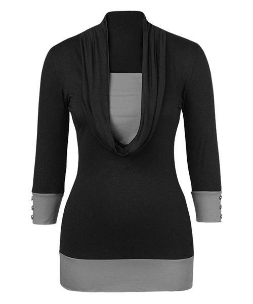 Stylish U Neck 3/4 Sleeve Color Block T-Shirt For Women - BLACK/GREY L