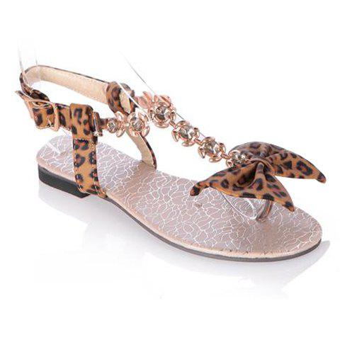 Stylish Bow and Leopard Print Design Sandals For Women - BROWN 39