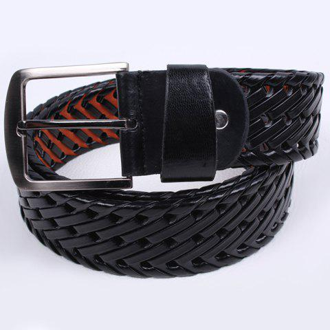 Chic Trendy Weaving Pattern Embellished Waist Belt For Men - BLACK